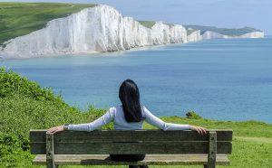 woman sitting on a bench healthy lifestyle